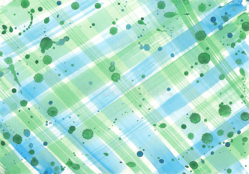 Fundo abstrato da aquarela com cursos e gotas verificados da escova ilustração do vetor