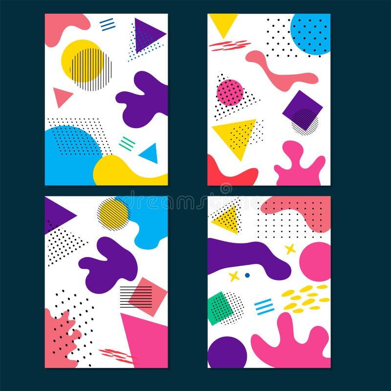Fundo abstrato da arte fluida colorida com elementos geométricos na opção quatro ilustração royalty free