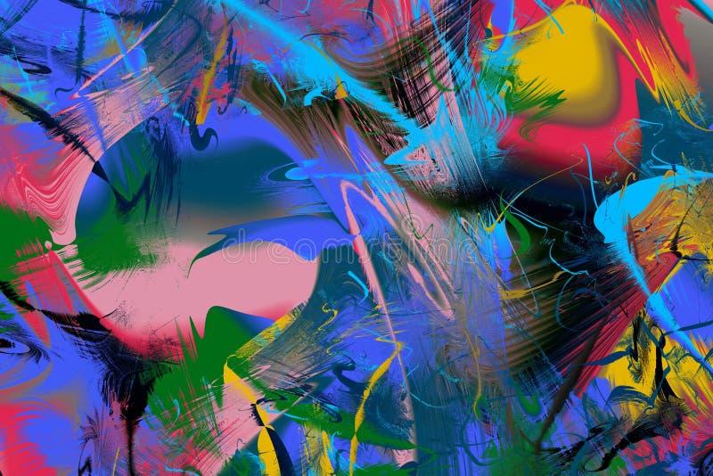 Fundo abstrato da arte moderna Pintura no movimento a propósito da faculdade criadora, da imaginação e da energia da vida ilustração stock