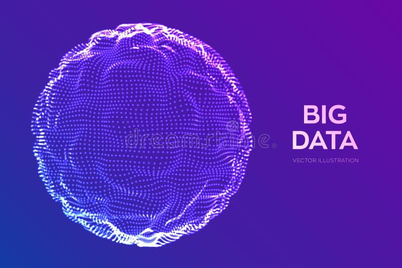 Fundo abstrato da ciência do bigdata Onda da grade da esfera Tecnologia grande da inovação dos dados Análise de rede de Blockchai ilustração stock