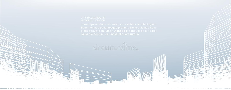 Fundo abstrato da cidade do wireframe A perspectiva 3D rende do wireframe da construção ilustração do vetor