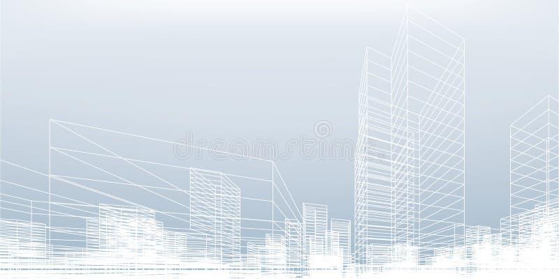 Fundo abstrato da cidade do wireframe A perspectiva 3D rende do wireframe da construção ilustração stock