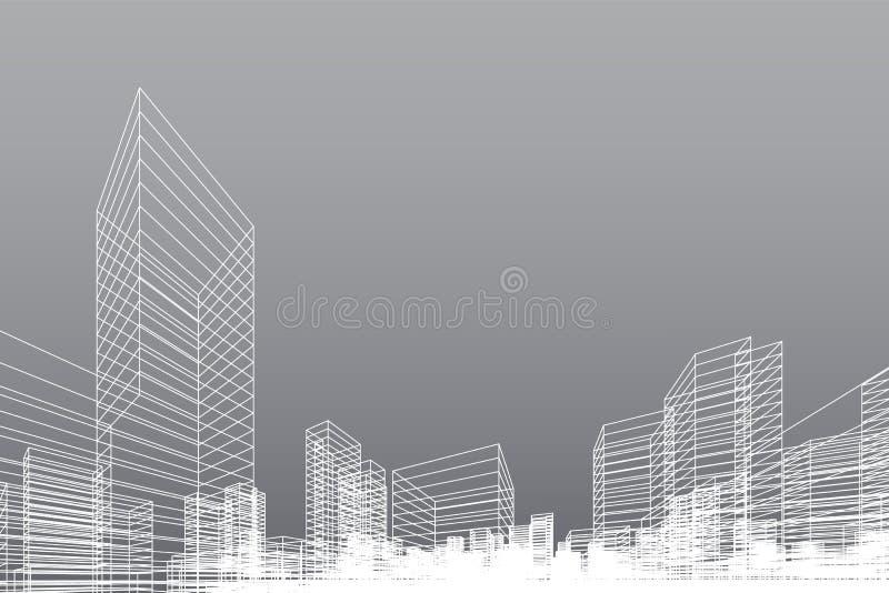 Fundo abstrato da cidade do wireframe A perspectiva 3D rende do wireframe da construção Vetor ilustração royalty free