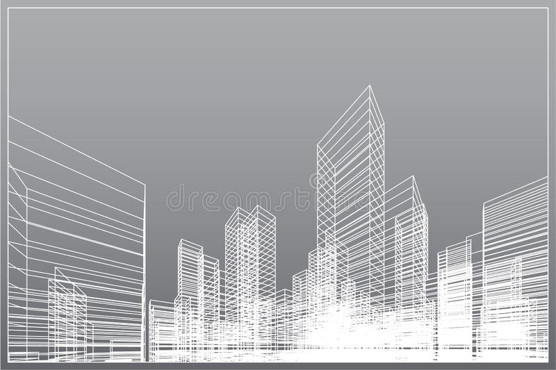 Fundo abstrato da cidade do wireframe A perspectiva 3D rende do wireframe da construção Vetor ilustração do vetor