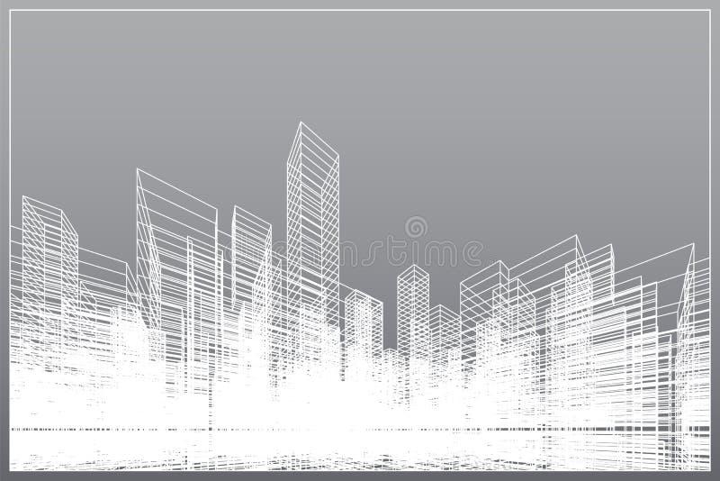 Fundo abstrato da cidade do wireframe A perspectiva 3D rende do wireframe da construção Vetor ilustração stock