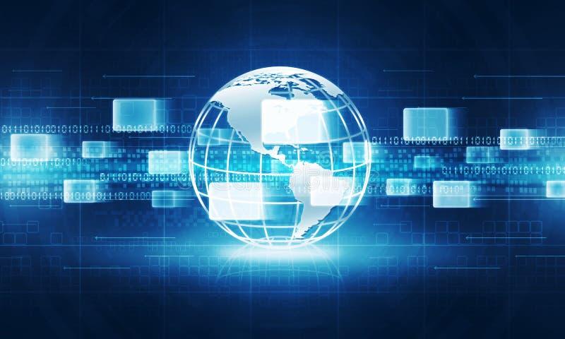 Fundo abstrato da conexão a Internet da tecnologia do globo fotos de stock