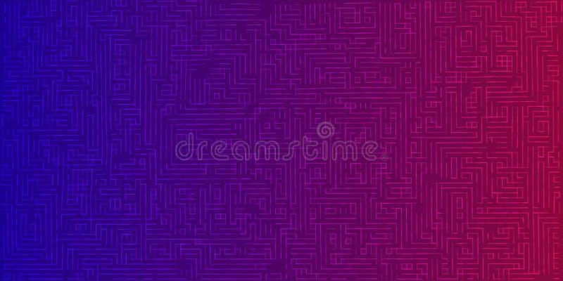 Fundo abstrato da cor das linhas Labirinto futurista para d ilustração stock