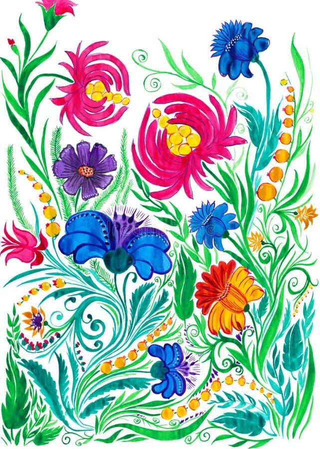 Fundo abstrato da flor, desenho da aquarela no papel ilustração do vetor