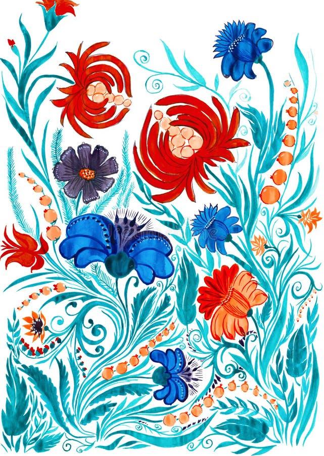 Fundo abstrato da flor, desenho da aquarela no papel fotografia de stock royalty free