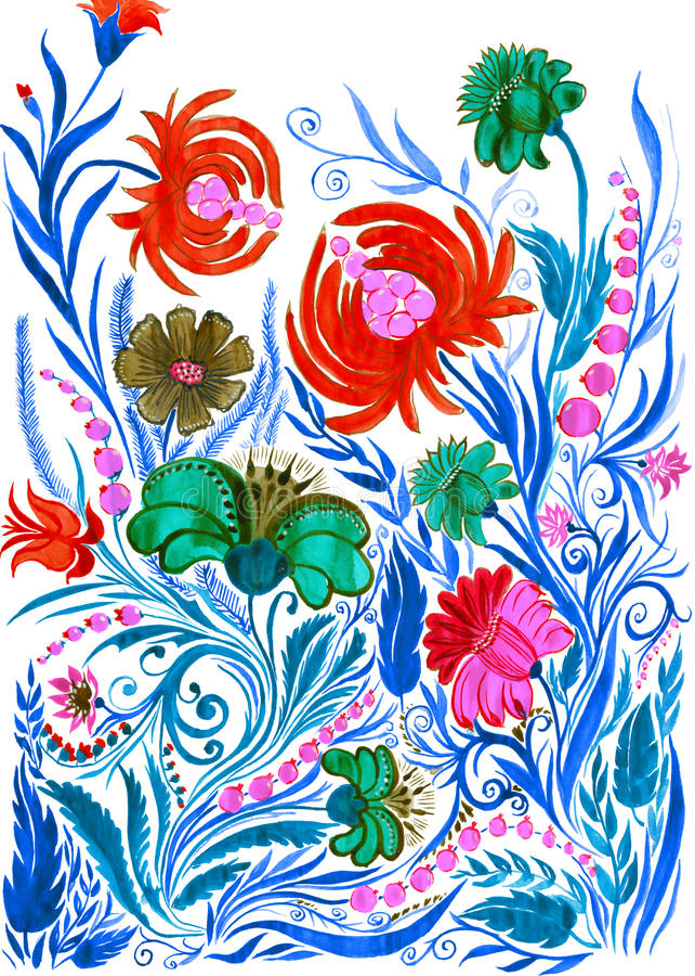 Fundo abstrato da flor, desenho da aquarela no papel imagens de stock