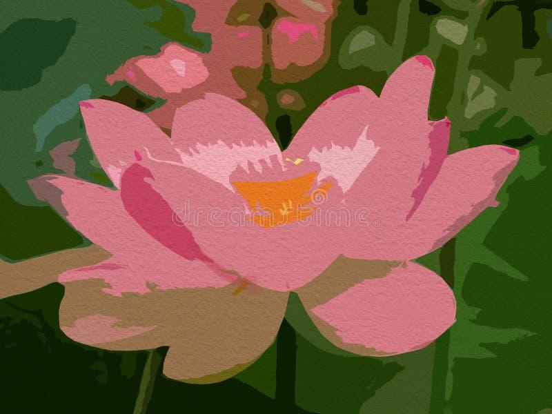 Fundo abstrato da flor, pintura floral Pintura da flor de Lotus ilustração do vetor
