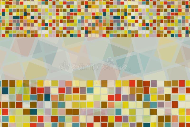 Fundo abstrato da forma quadrada colorida na cruz diferente do tamanho e da mistura junto com o espaço vazio no centro fotografia de stock