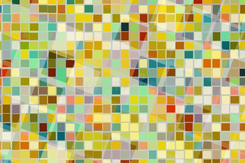 Fundo abstrato da forma quadrada colorida na cruz e na mistura diferentes do tamanho junto fotos de stock