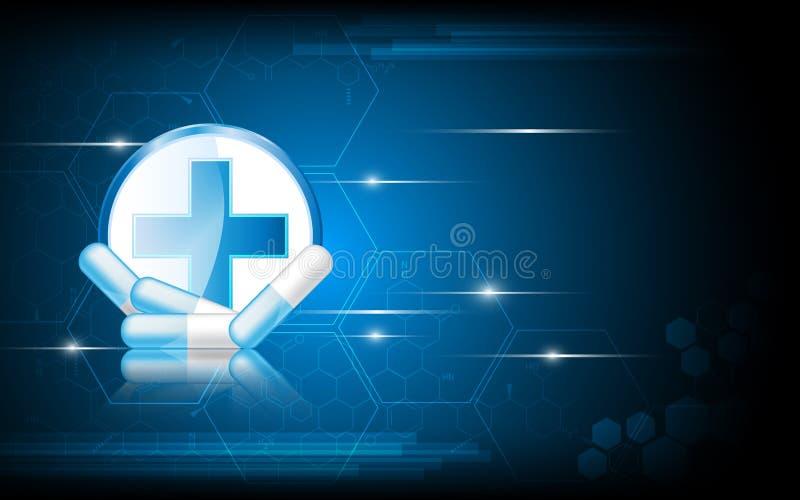 Fundo abstrato da inovação do conceito dos cuidados médicos do vetor ilustração do vetor