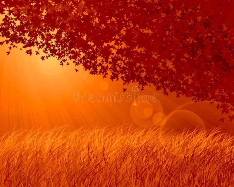 Fundo abstrato da laranja da floresta ilustração do vetor