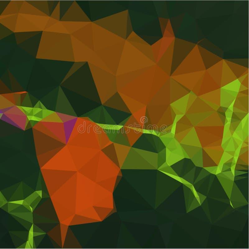 Fundo abstrato da luz da cor alaranjada e verde e de fragmentos escuros ao estilo de baixo-poli ilustração do vetor