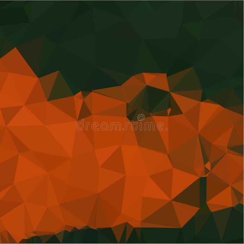 Fundo abstrato da luz da cor alaranjada e verde e de fragmentos escuros ao estilo de baixo-poli ilustração stock