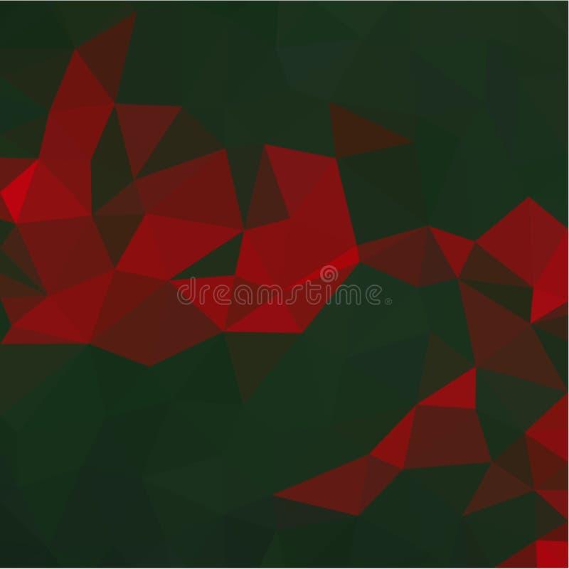 Fundo abstrato da luz das cores vermelhas e verdes e de fragmentos escuros ao estilo de baixo-poli ilustração royalty free