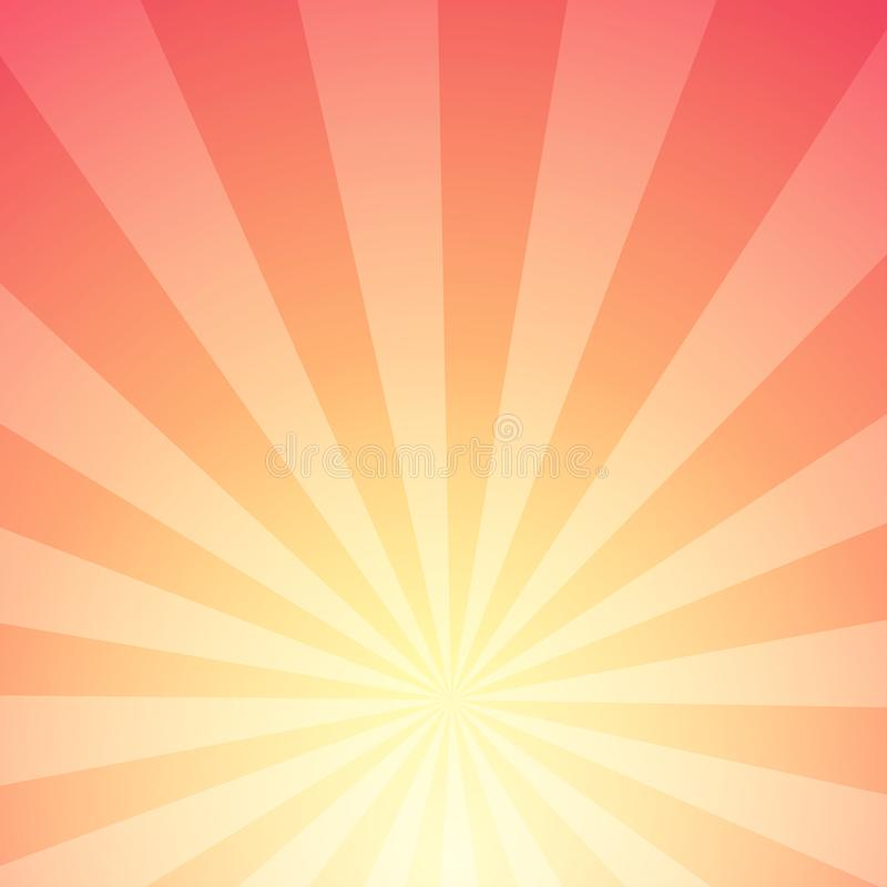 Fundo abstrato da luz solar com listras - fulgor com raios radiais da estrela ilustração stock