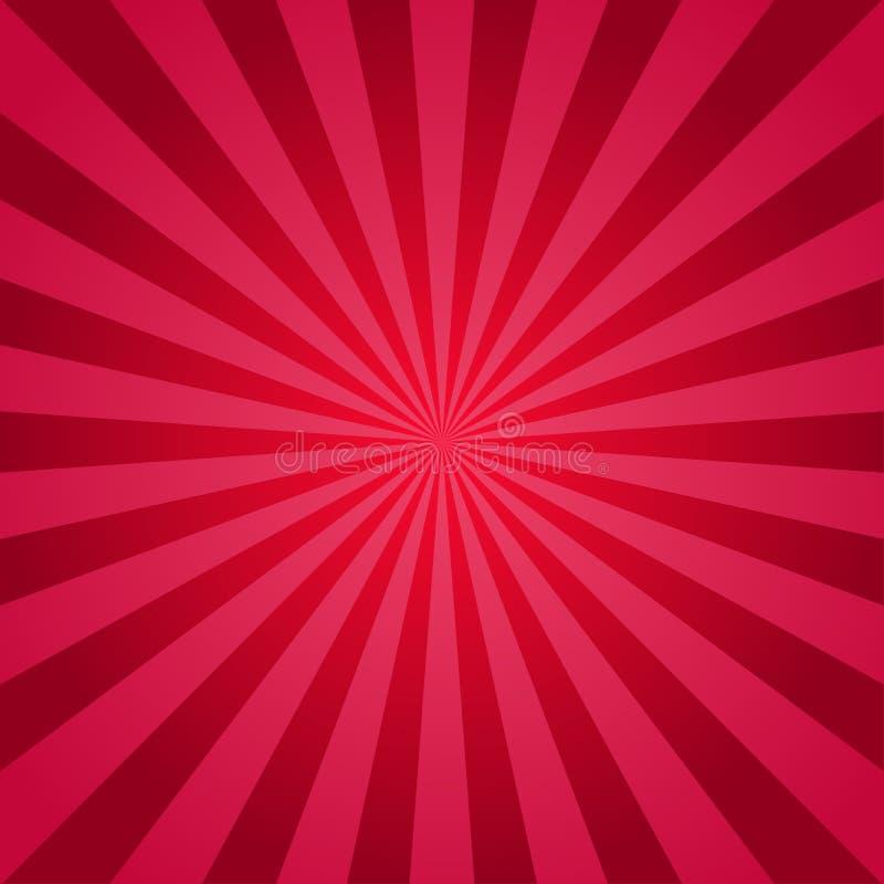 Fundo abstrato da luz solar Fundo da explosão do vermelho Ilustração do vetor Teste padrão do sunburst do raio do feixe de Sun ilustração royalty free