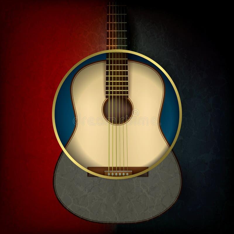 Fundo abstrato da música com guitarra acústica ilustração royalty free