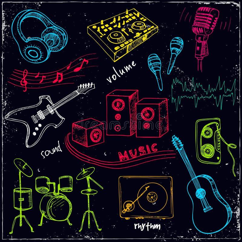 Fundo abstrato da música com instrumentos musicais ilustração stock