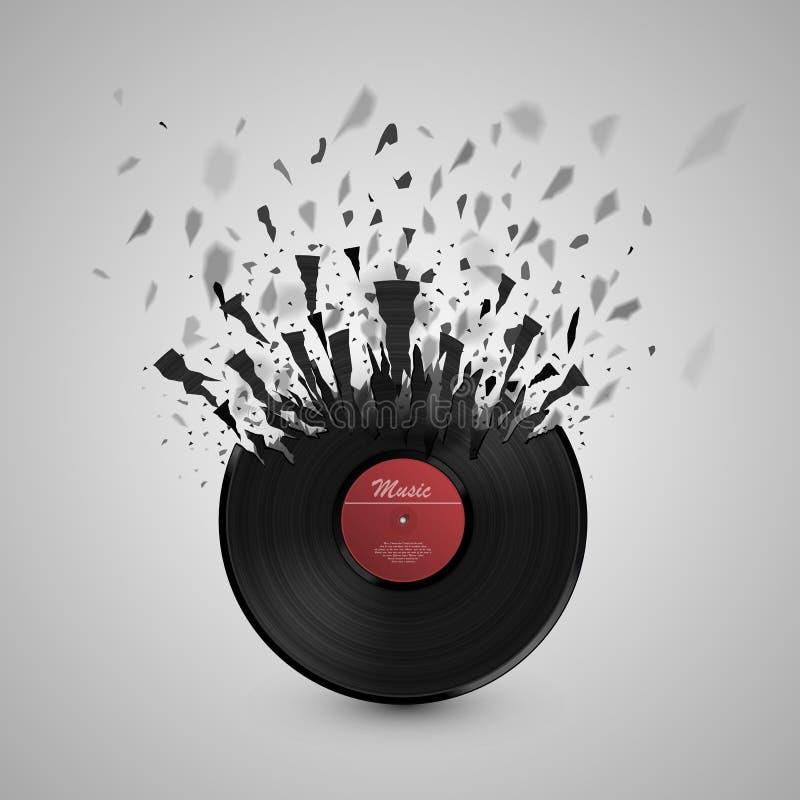 Fundo abstrato da música Explosão do disco do vinil ilustração royalty free
