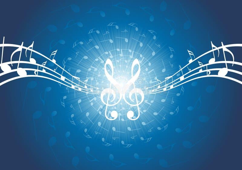 Fundo abstrato da música - notas musicais ilustração stock