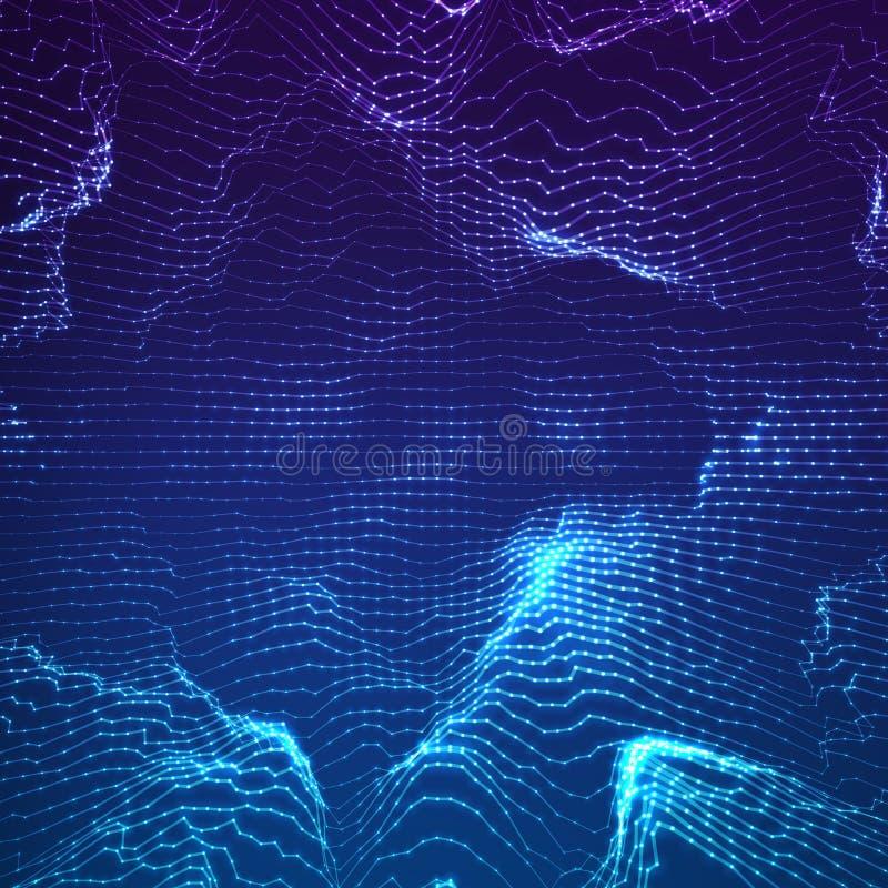 Fundo abstrato da malha do ponto azul do vetor Estilo futurista da tecnologia Fundo elegante para apresentações do negócio ilustração do vetor