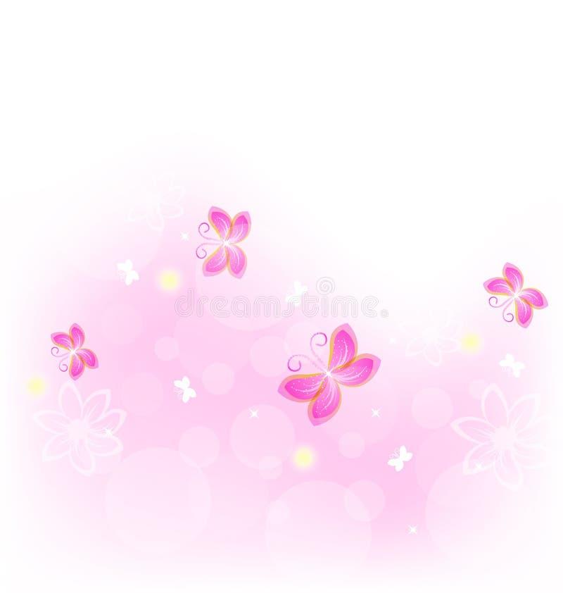 Fundo abstrato da natureza com borboleta ilustração do vetor