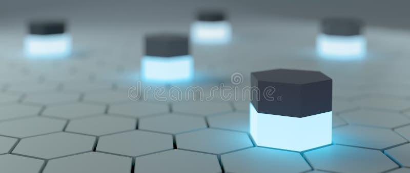 Fundo abstrato da olá!-tecnologia com hexágonos ao redor ilustração royalty free