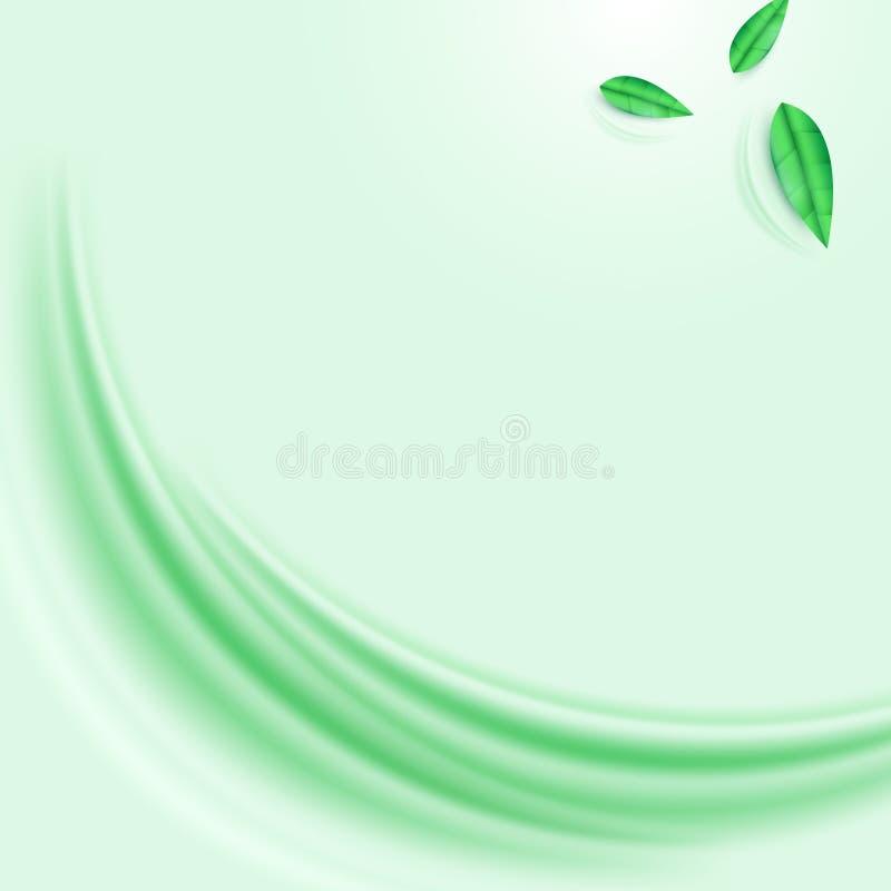 Fundo abstrato da onda verde e das folhas ilustração do vetor