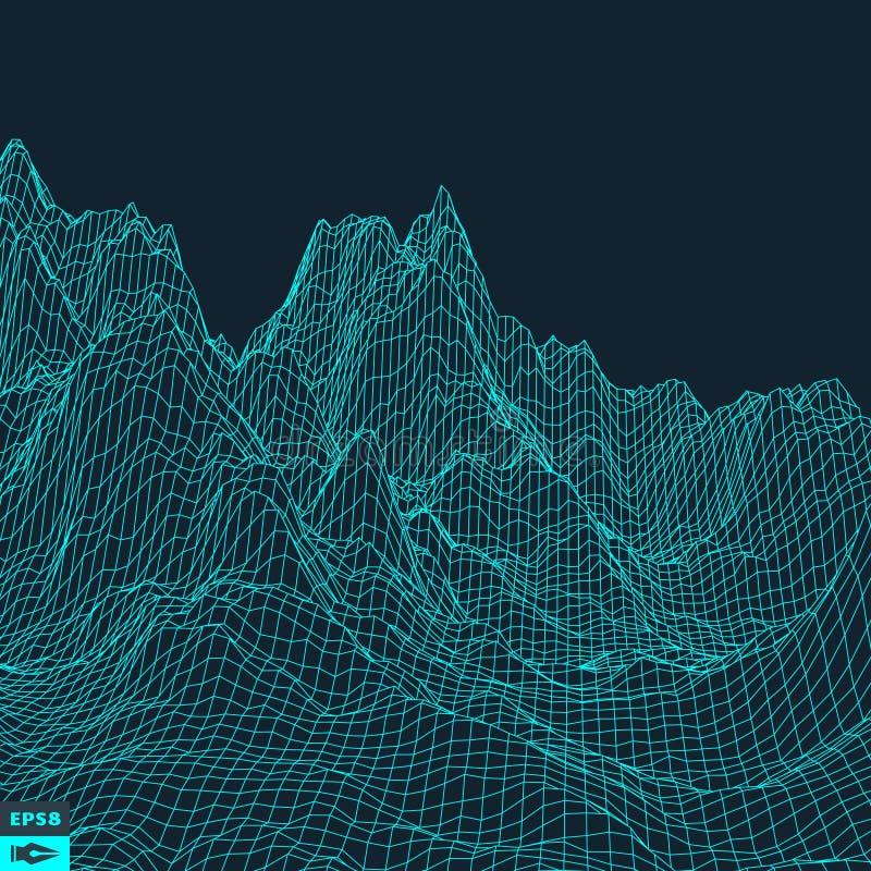 Fundo abstrato da paisagem do vetor Grade do Cyberspace ilustração stock