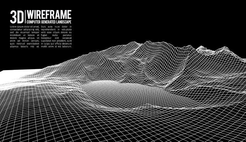 Fundo abstrato da paisagem do wireframe do vetor Grade do Cyberspace ilustração do vetor do wireframe da tecnologia 3d Digitas ilustração royalty free