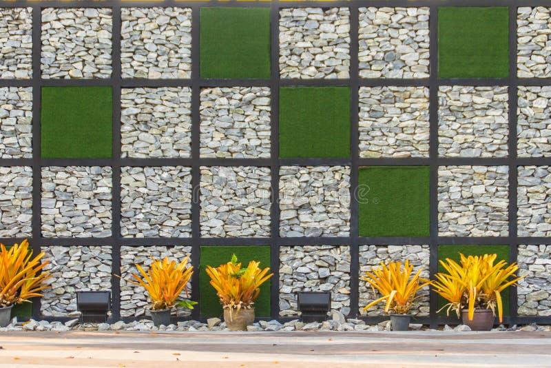 Fundo abstrato da parede de pedra do seixo do rio com quadro da grama verde Cobrir a forma do fundo da parede e do quadrado da gr foto de stock royalty free