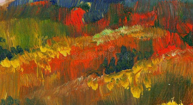 Fundo abstrato da pintura de óleo da cor da queda imagem de stock