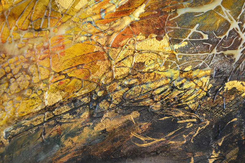 Fundo abstrato da pintura do ouro do óleo