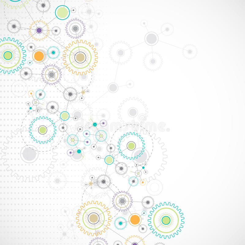 Fundo abstrato da rede da tecnologia da roda denteada ilustração royalty free