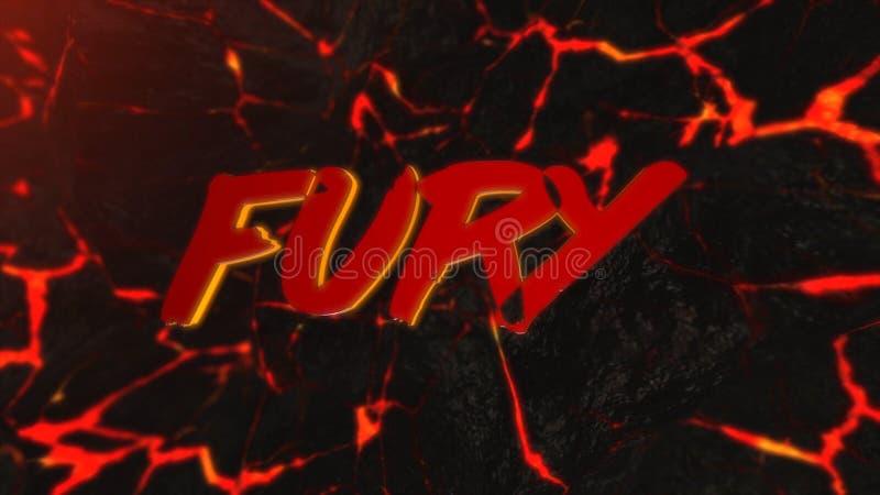 Fundo abstrato da rocha quente com quebras animation Fundo abstrato com inscrição da fúria no fundo da lava ilustração royalty free