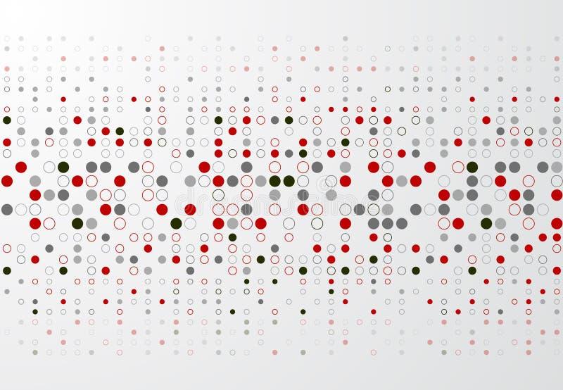 Fundo abstrato da tecnologia com beira vermelha e cinzenta p do círculo ilustração do vetor