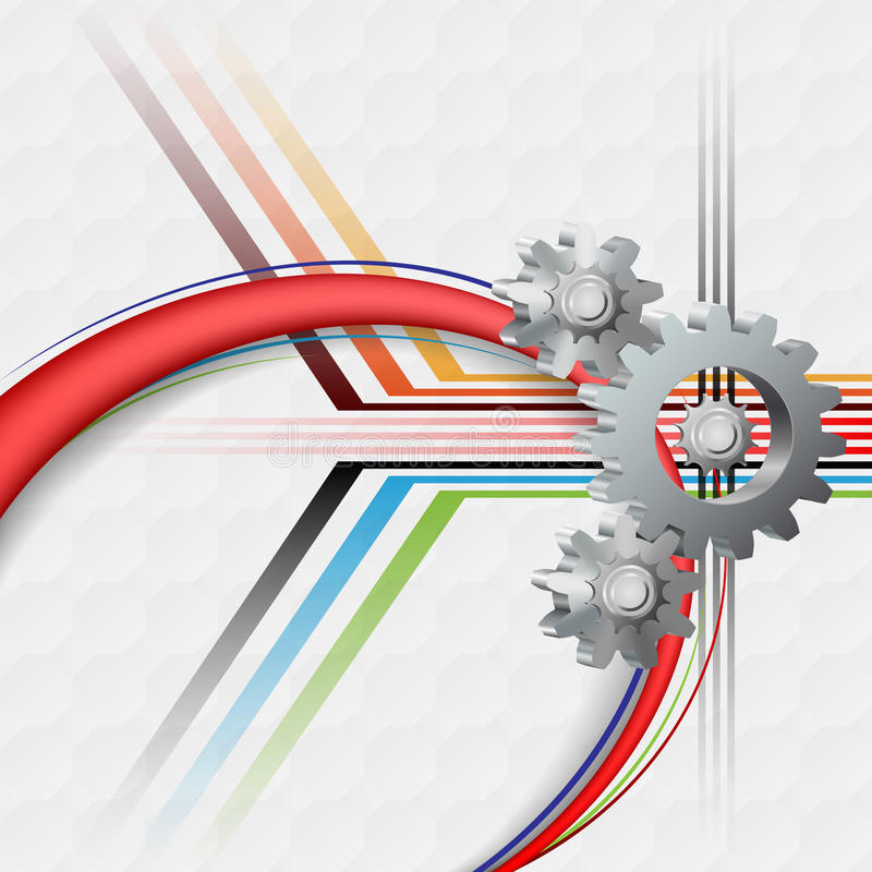 Fundo abstrato da tecnologia com a engrenagem de três dimensões ilustração do vetor