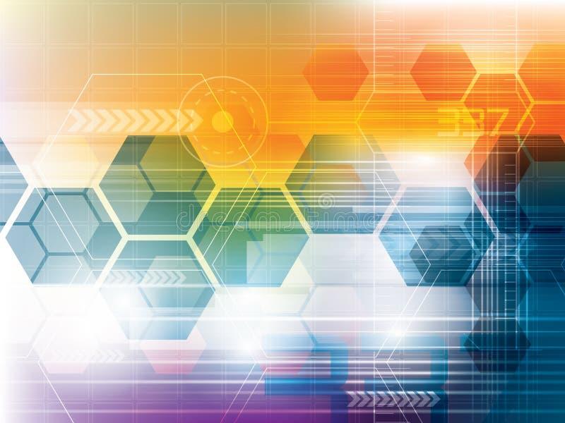 Fundo abstrato da tecnologia com hexágonos ilustração stock