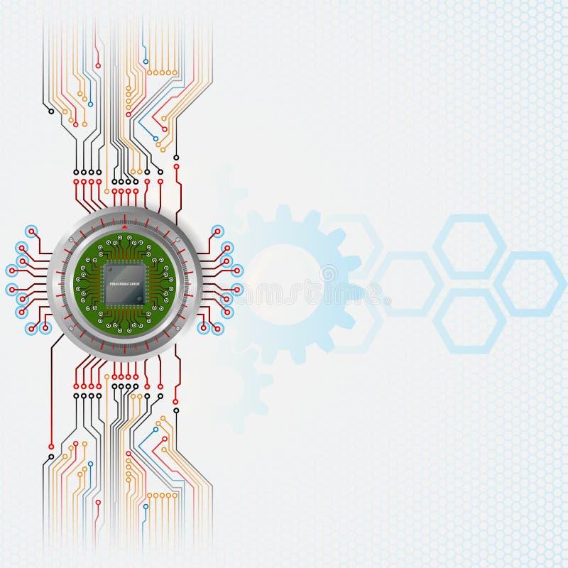 Fundo abstrato da tecnologia com microplaqueta de processador ilustração do vetor