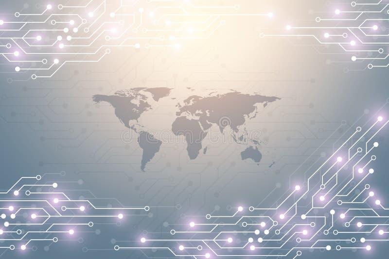 Fundo abstrato da tecnologia com textura da placa de circuito Cartão-matriz eletrônico do projeto gráfico Uma comunicação e ilustração stock