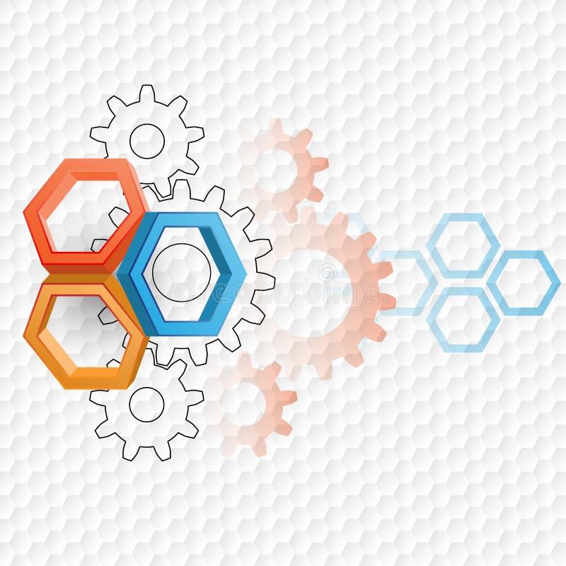 Fundo abstrato da tecnologia com três hexágonos das dimensões ilustração stock