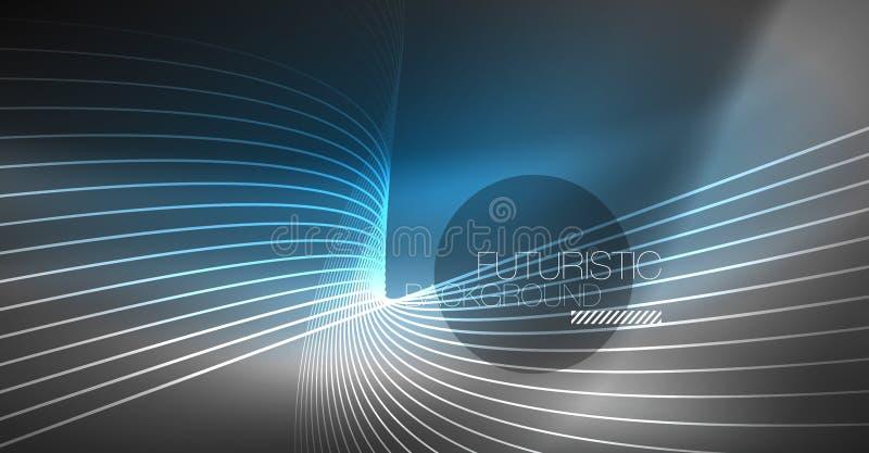 Fundo abstrato da tecnologia de Digitas - projeto geométrico de néon Linhas de incandescência abstratas Fundo colorido do techno ilustração stock