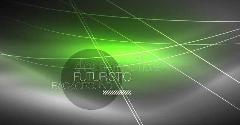 Fundo abstrato da tecnologia de Digitas - projeto geométrico de néon Linhas de incandescência abstratas Fundo colorido do techno ilustração royalty free
