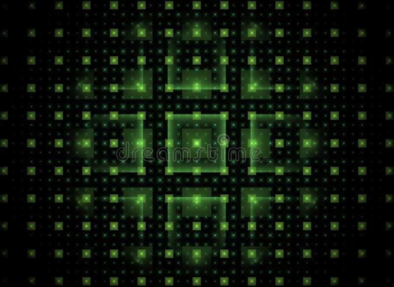 Fundo abstrato da tecnologia do fractal com quadrados brilhantes verdes ilustração do vetor