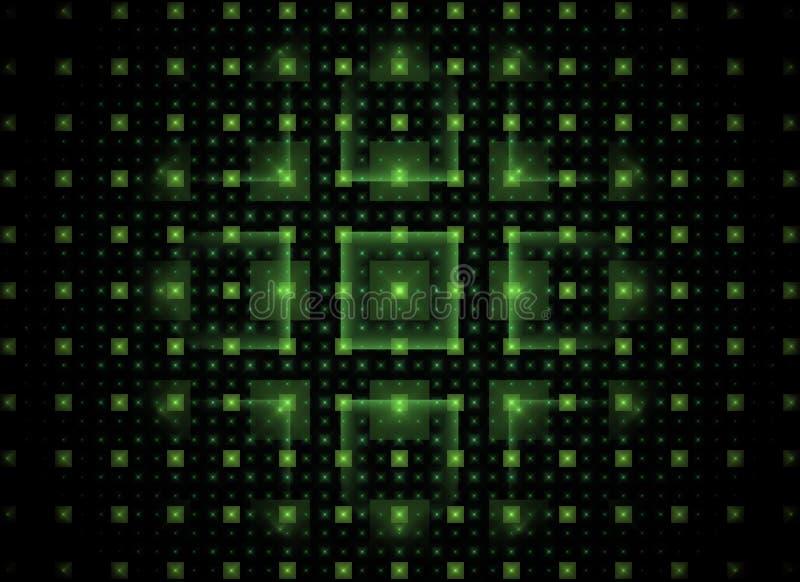 Fundo abstrato da tecnologia do fractal com quadrados brilhantes verdes ilustração stock