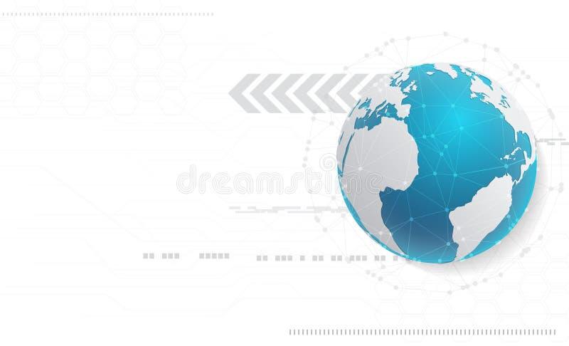 Fundo abstrato da tecnologia e conceito da rede global com v ilustração stock
